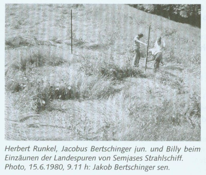 Herbert Runkel, Jacobus Bertschinger Jr. and Billy at the fence  around the landing tracks from Semjase's Beamship. Photo, 6/15/1980, 9:11am: Jakob Bertschinger Sr.